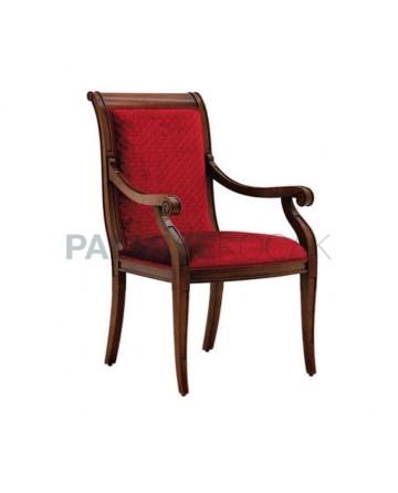 Kırmızı Desenli Kumaş Kaplı Ahşap Restaurant Kollu Sandalyesi