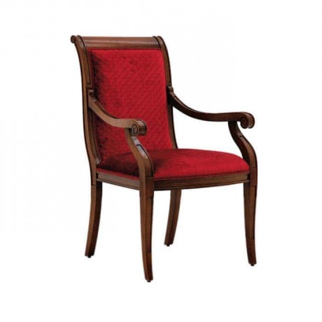 Red Patterned Fabric Upholstered Wooden Restaurant Arm Chair - mskc27
