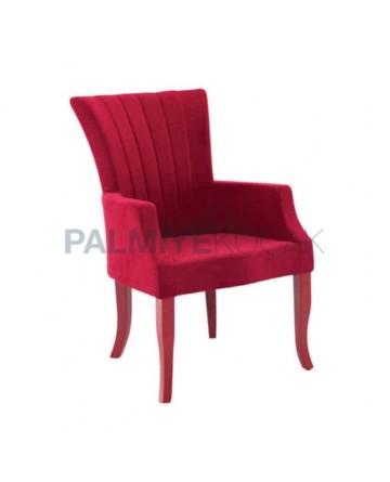 Modern Cafe Restaurant with Red Velvet Fabric Upholstered