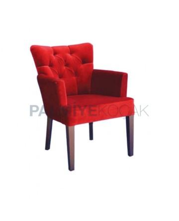 Kırmızı Kadife Kumaşlı Kapitoneli Kollu Cafe Sandalyesi