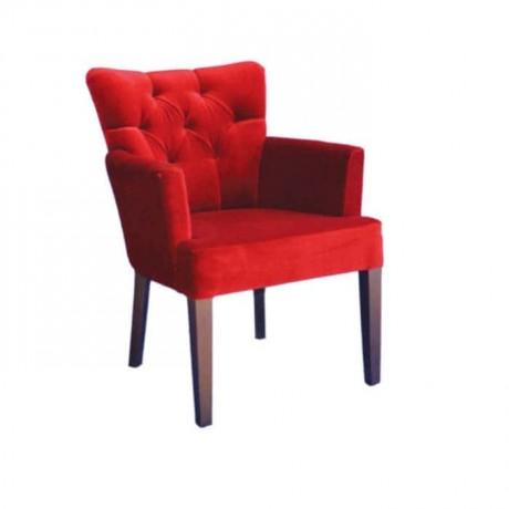 Kırmızı Kadife Kumaşlı Kapitoneli Kollu Cafe Sandalyesi - mskb38