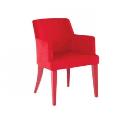 Kırmızı Kumaş Döşemeli Kırmızı Lake Boyalı Kollu Sandalye - mskb11