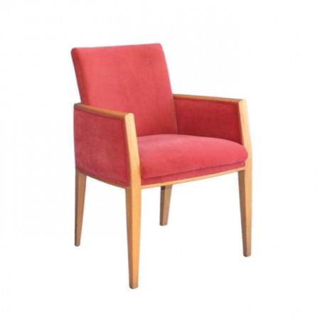 Kırmızı Kumaşlı Ahşap Natural Boyalı Kollu Sandalye - mskb41