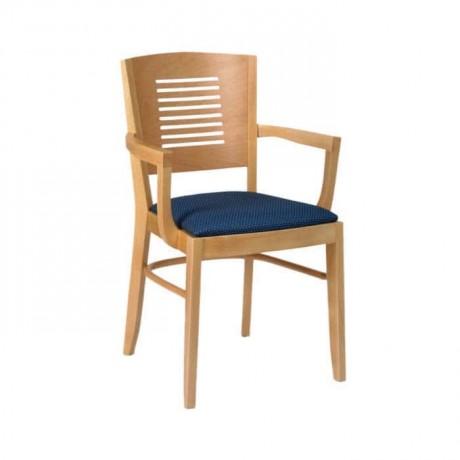 Kontra Sırtlı Ahşap Natural Boyalı Restoran Kollu Sandalyesi - mska54