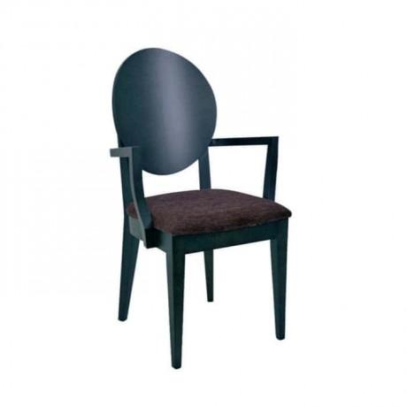 Kontra Sırtlı Siyah Boyalı Kollu Sandalye - mska44