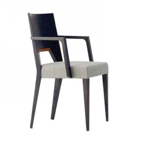 Kontralı Ahşap Kollu Beyaz Döşemeli Kollu Sandalye - mska32