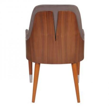 Koyu Gri Döşemeli Ahşap Yüzüklü Retro Ayaklı Modern Sandalye - mska95a