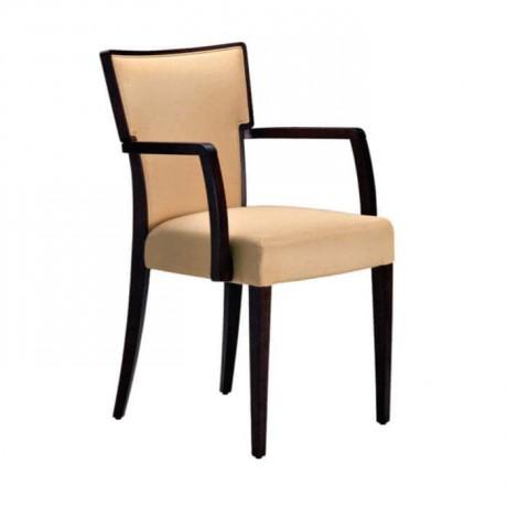 Krem Deri Döşemeli Kayın Ahşaptan İmal Kollu Sandalye - mska74