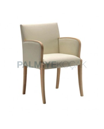 Cream Leather Wooden Natural Armchair