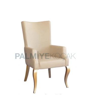 Krem Derili Lukens Ayaklı Cafe Restoran Sandalyesi