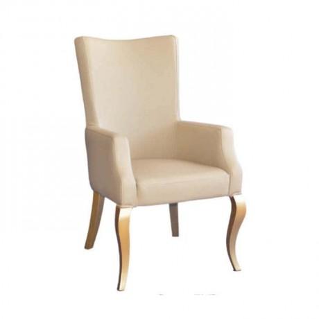 Krem Derili Lukens Ayaklı Cafe Restoran Sandalyesi - mskb48
