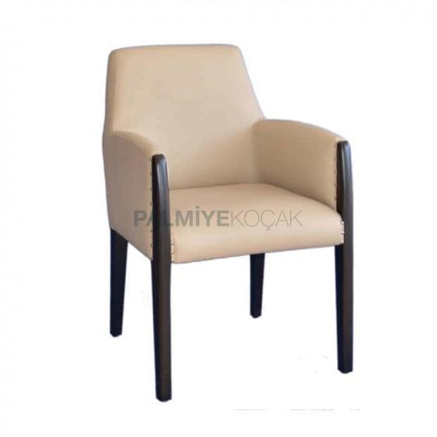 Krem Derili Siyah Boyalı Modern Kollu Ahşap Sandalye