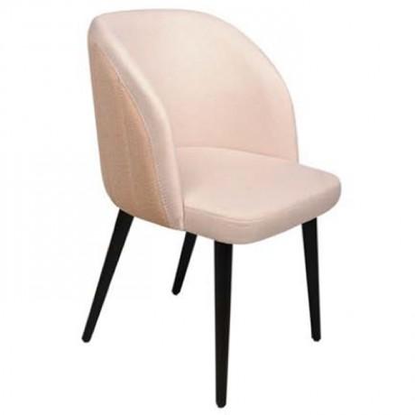 Krem Kumaş Döşemeli Siyah Yüzüklü Retro Ayaklı Poliüretan Sandalye - Ahşap Modern Kollu Sandalye