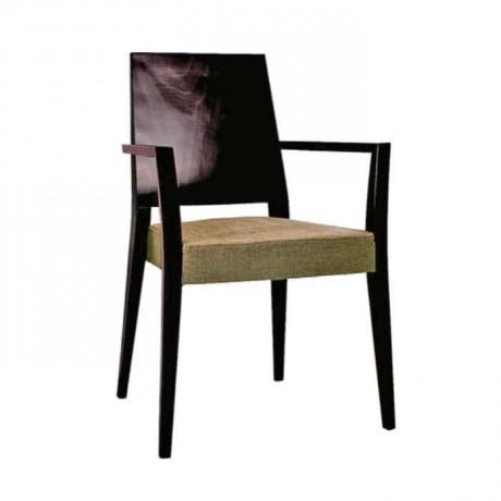 Krem Kumaş Döşemeli Venge Boyalı Ahşap Kollu Sandalye - mska16