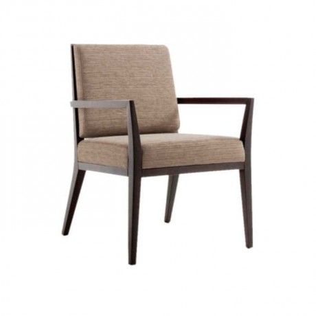 Fabric Upholstered Wooden Cafe Arm Chair - mska11