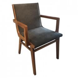 Modern Wooden Armchair With Fabric Upholstery