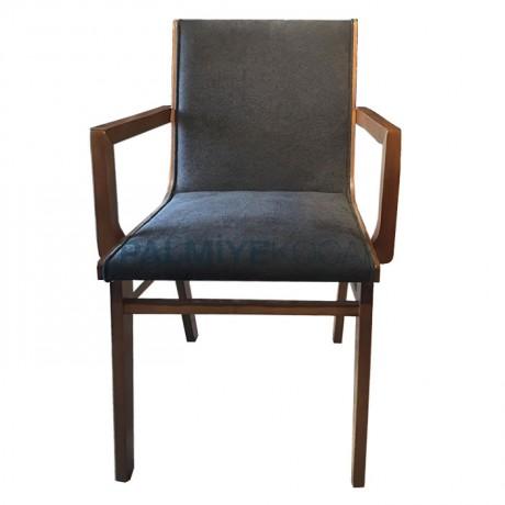 Kumaş Döşemeli Modern Ahşap Kollu Sandalye - Ahşap Modern Kollu Sandalye