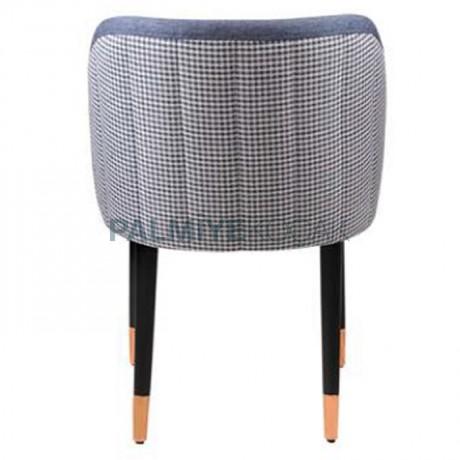 Mavi Kot Görünümlü Mavi Kumaş Döşemeli Kareli Sırt Kumaşlı Siyah Yüzüklü Retro Ayaklı Poliüretan Sandalye - Ahşap Modern Sandalye