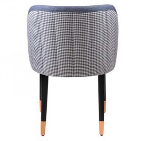 Mavi Kot Görünümlü Mavi Kumaş Döşemeli Kareli Sırt Kumaşlı Siyah Yüzüklü Retro Ayaklı Poliüretan Sandalye - nkas42