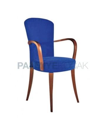 Mavi Kumaşlı Ahşap Modern Kollu Sandalye