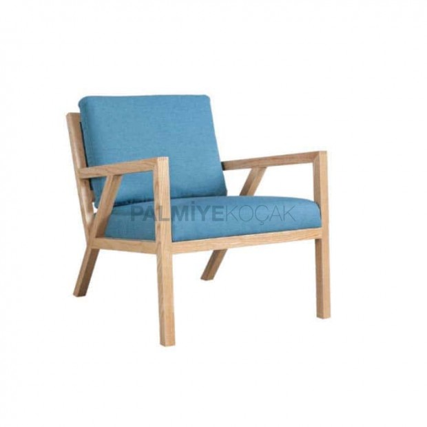 Blue Fabric Wooden Natural Armchair