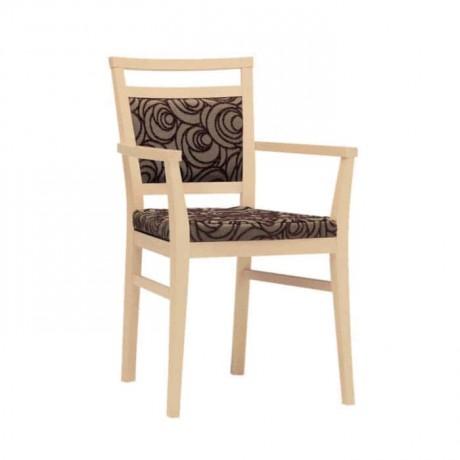 Meşe Renkli Kahve Desenli Döşemeli Restoran Sandalyesi - mska49