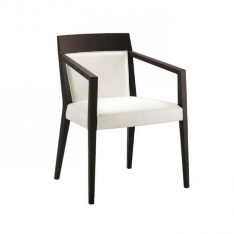 Modern Beyaz Döşemeli Siyah Boyalı Kollu Sandalye - mska67
