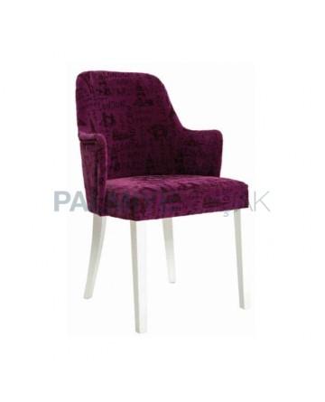 Plum Fabric Modern Wooden Restaurant Chair