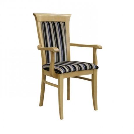 Natural Ahşaplı Çizgili Kumaşlı Restoran Sandalyesi - mska45
