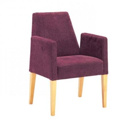 Natural Boyalı Mürdüm Renkli Kollu Sandalye - mskb32