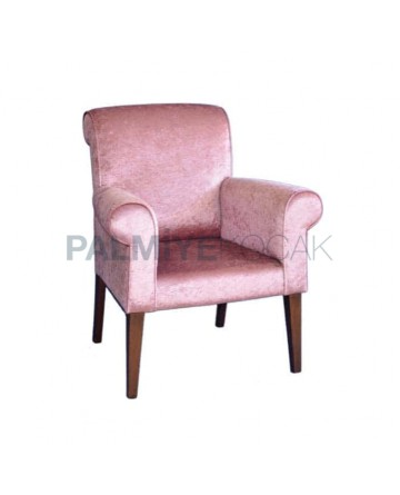 Nubuck Fabric Upholstered Modern Restaurant Cafe Hotel Arm Chair