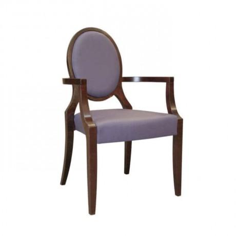 Oval Sırtlı Lila Deri Döşemeli Kollu Sandalye - mska52