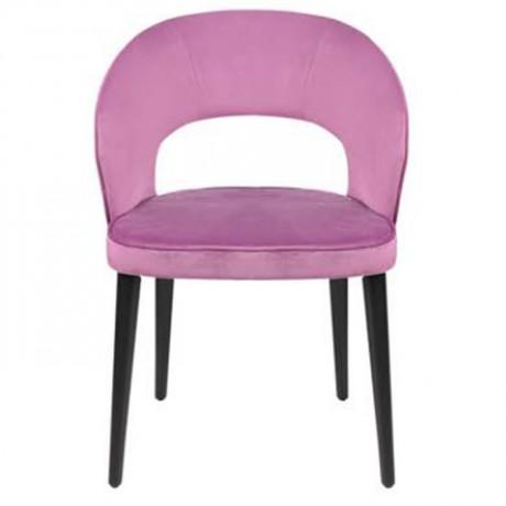 Pembe Kumaş Döşemeli Siyah Retro Ayaklı Modern Sandalye - nkas48