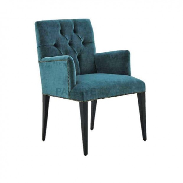 Petrol Blues Quilted Sonil Fabric Upholstered Modern Chair