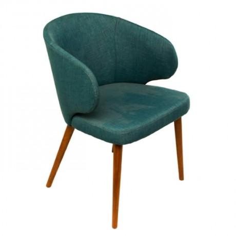 Petrol Mavisi Kumaş Döşemeli Retro Ayaklı Kollu Cafe Sandalyesi - mskb80