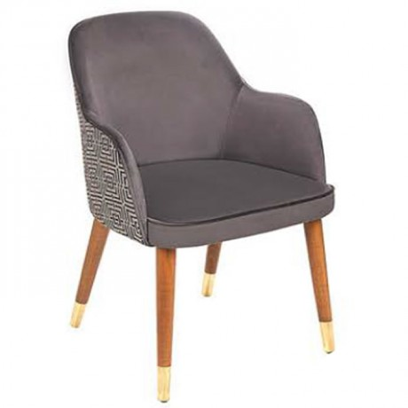 Retro Ayaklı Antrasit Kumaş Döşemeli Sırt Desenli Modern Ahşap Sandalye - nkas47y