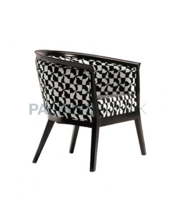 Modern Cafe Restaurant Chair with Black and White Fabric