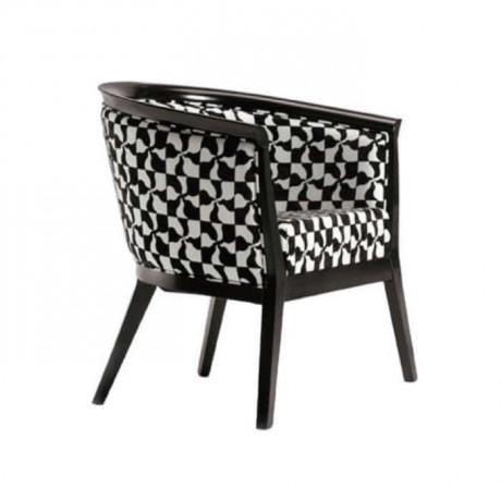 Siyah Beyaz Kumaş Döşemeli Modern Cafe Restoran Sandalyesi - mskb67