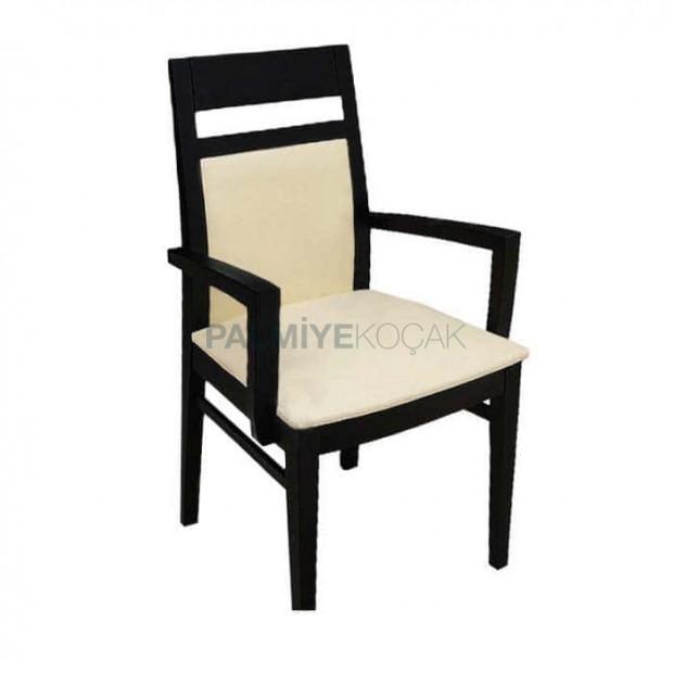 Black Painted Wooden Modern Restaurant Arm Chair