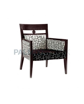 Black Painted White Patterned Fabric Upholstered Modern Chair
