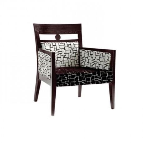 Siyah Boyalı Beyaz Desenli Kumaş Döşemeli Modern Sandalye - mskb66