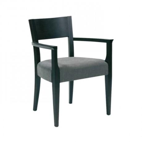 Siyah Boyalı Gri Döşemeli Kollu Sandalye - mska47