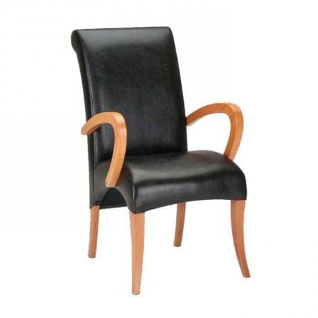 Siyah Deri Döşemeli Kollu Sandalye - mska3