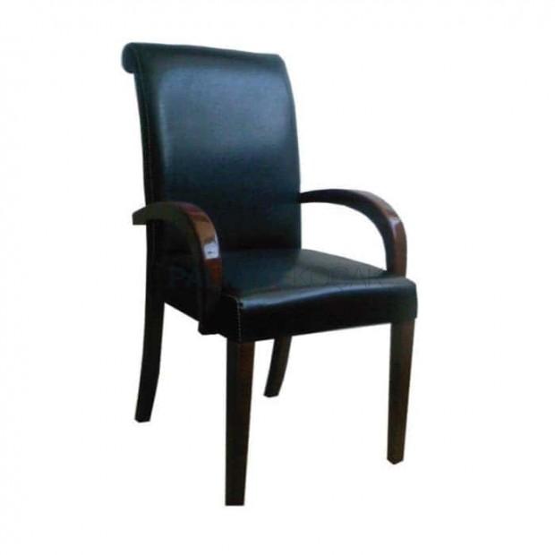 Siyah Deri Döşemeli Restoran Sandalyesi