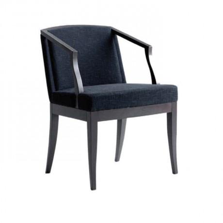 Siyah Kumaş Döşemeli Venge Boyalı Modern Kollu Sandalye - mska87