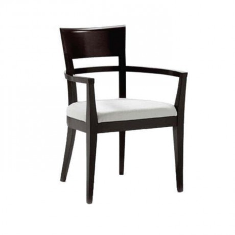 Siyah Parlak Boyalı Ahşap Kollu Restaurant Sandalyesi - mskc06