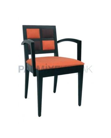 Black Orange Upholstered Arm Chair