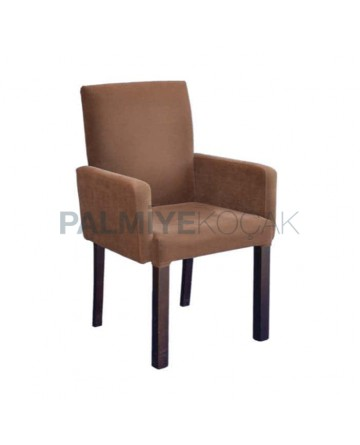 Milk Brown Fabric Upholstered Armchair