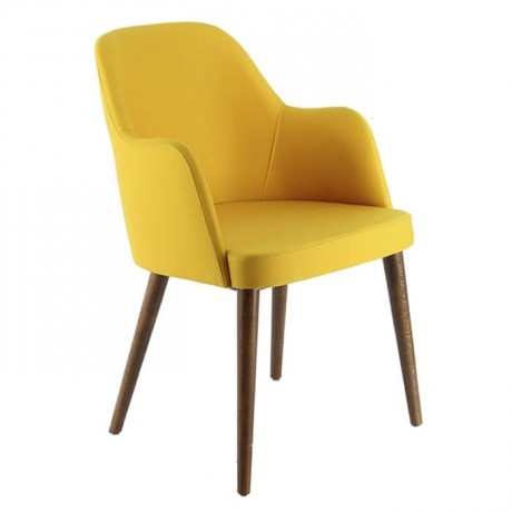 Torna Retro Ayaklı Sarı Kumaş Döşemeli Cafe Sandalyesi - mskb03