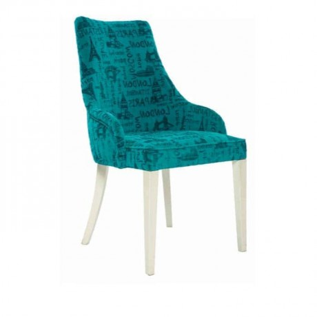 Turkuaz Desenli Kumaşlı Yarım Kollu Sandalye - mskb72